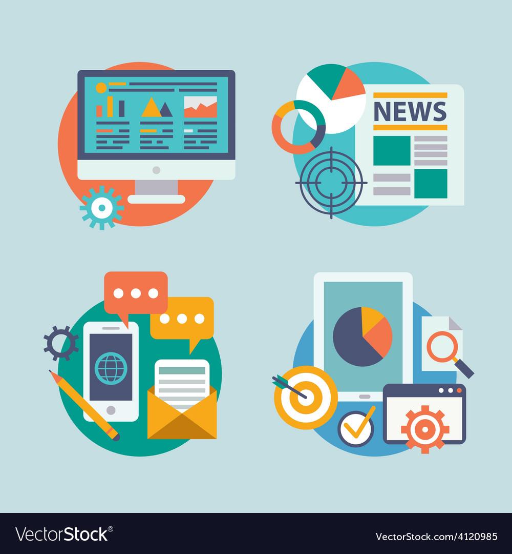 Set flat design for internet marketing vector
