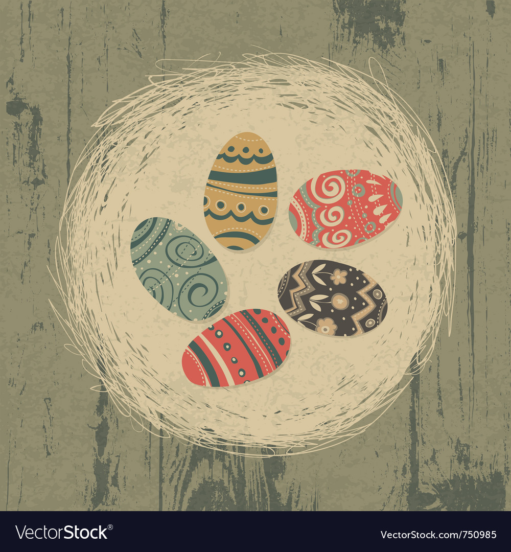 Vintage easter eggs vector
