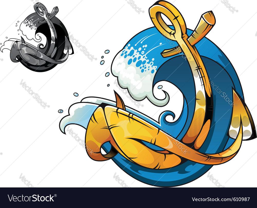 Cartoon vintage anchor vector