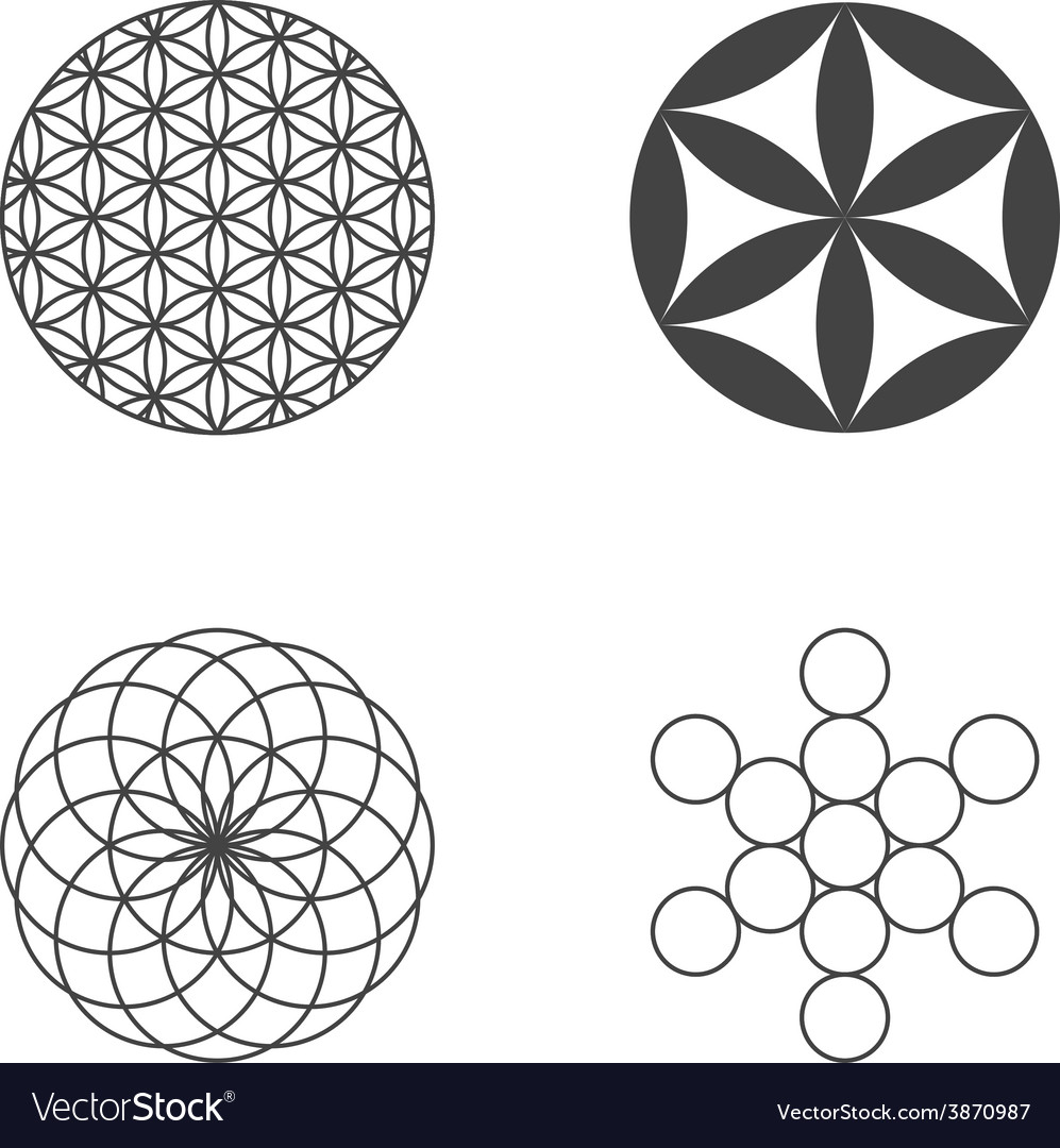 Flower of life set of icons design elements vector