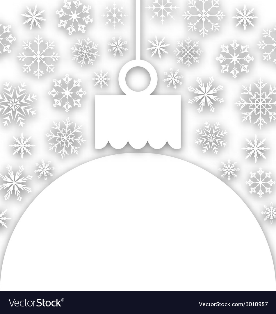 Paper christmas ball with snowflakes textured vector