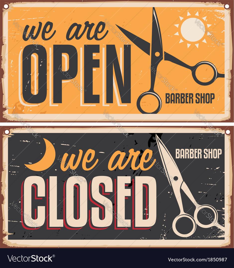 Retro door signs for barber shop vector