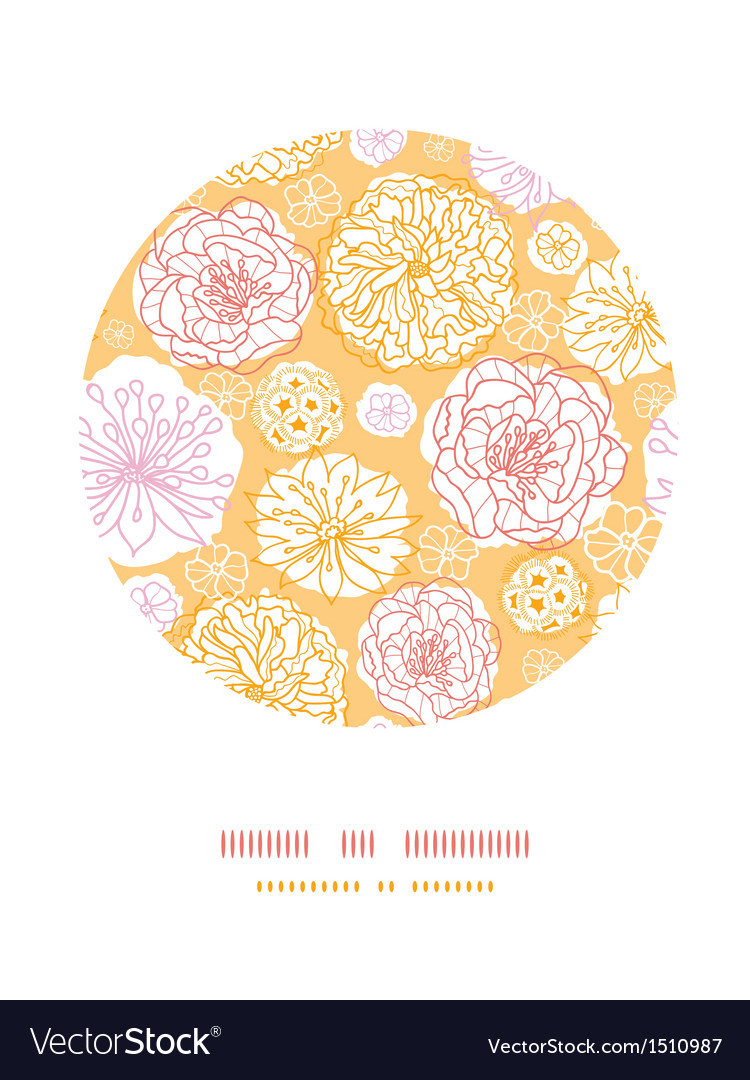 Warm day flowers circle decor pattern background vector