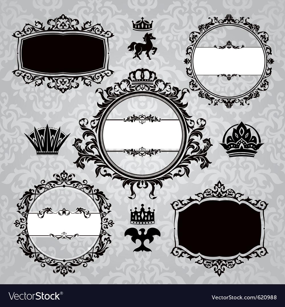 Frames and vintage design elements vector