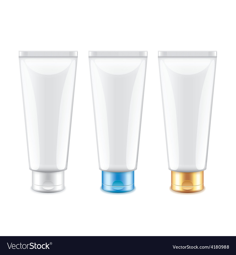 White tube packaging for cosmetics isolated vector