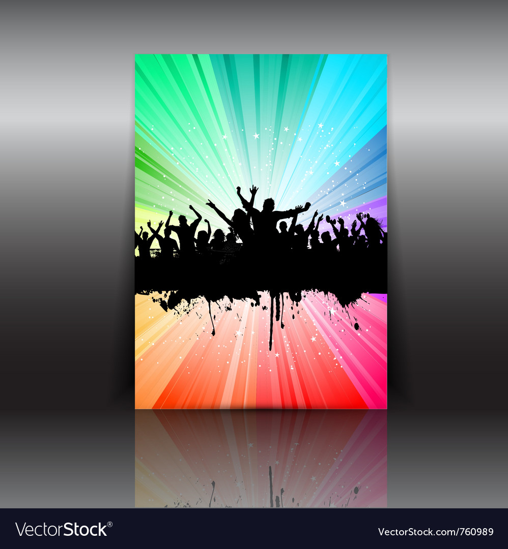 Crowd flyer layout vector
