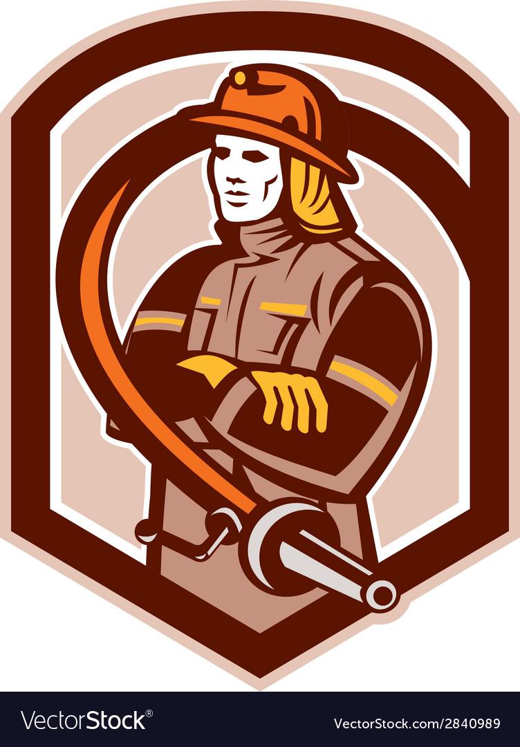 Fireman firefighter folding arms circle retro vector