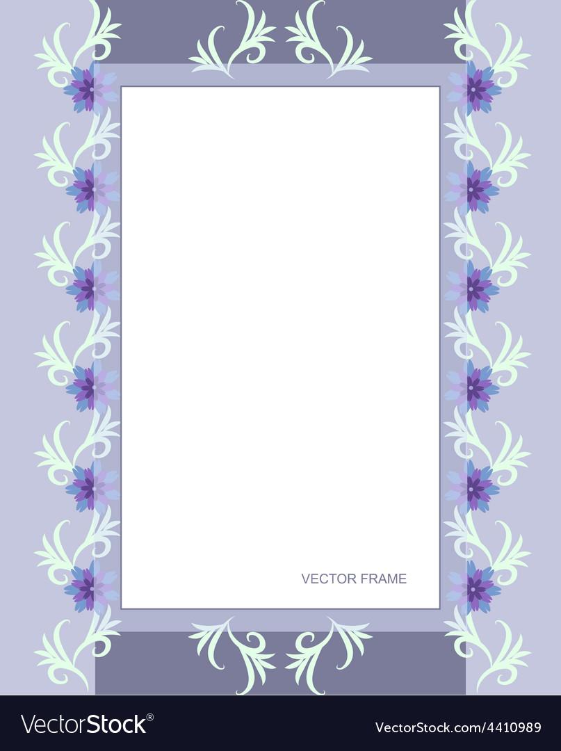Rectangular flower frame vector