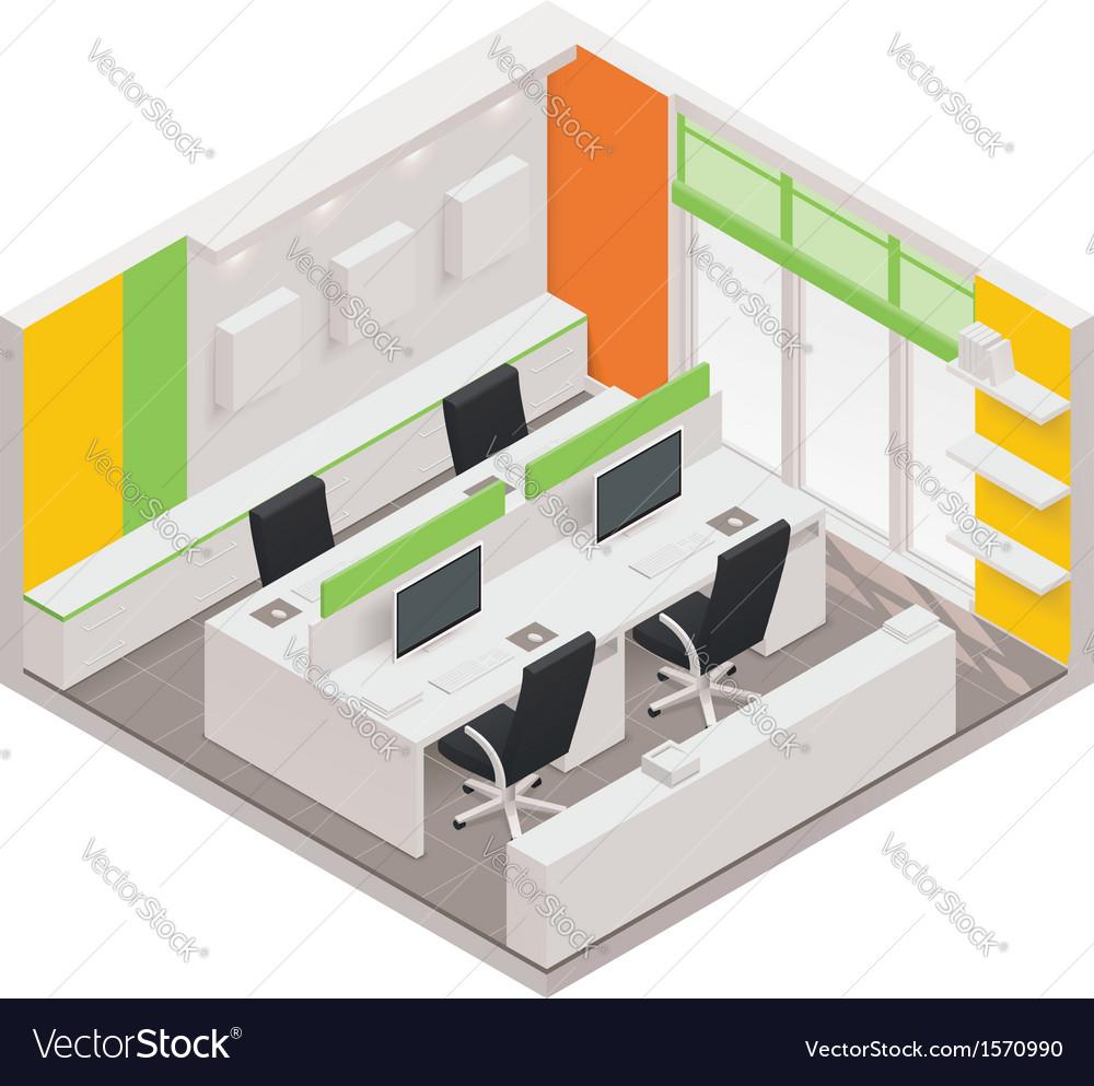 Isometric office room icon vector