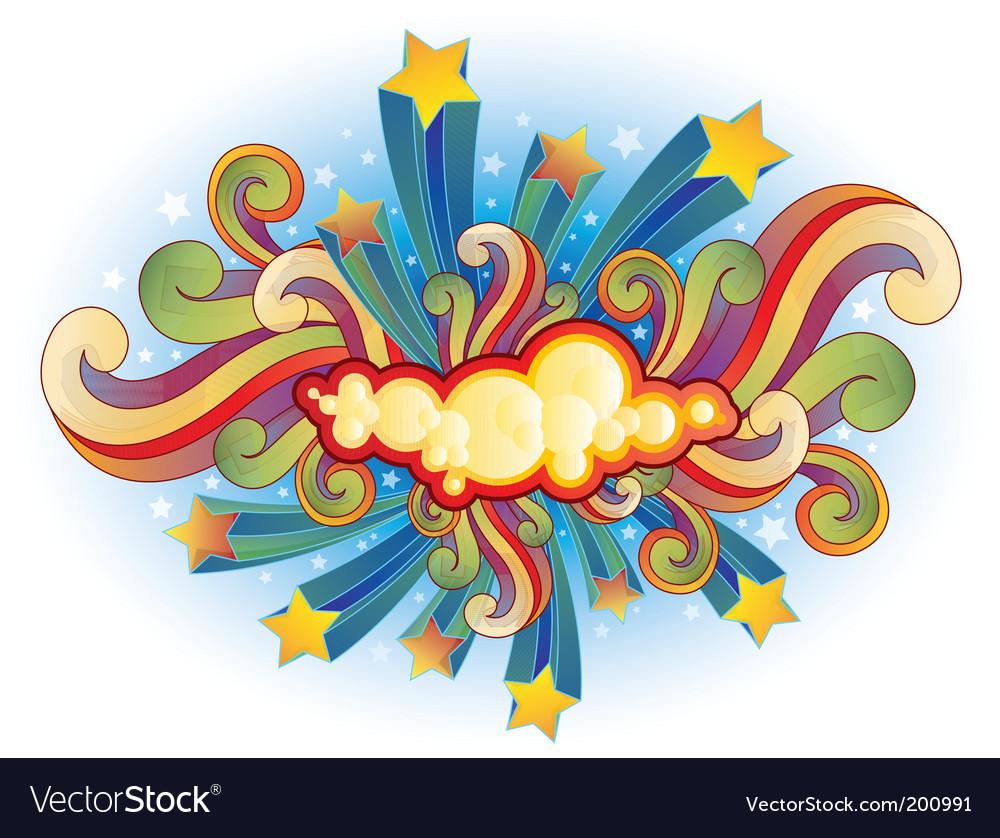 Retro shooting stars and swirls vector