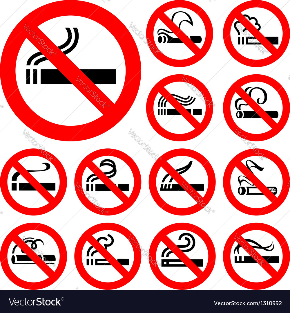 No smoking - red symbols vector