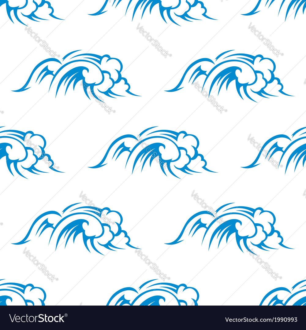 Curling breaking waves seamless pattern vector