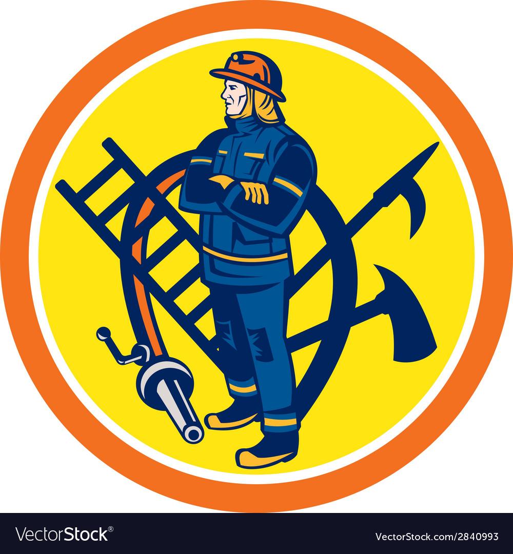 Fireman firefighter fire hose ladder circle vector