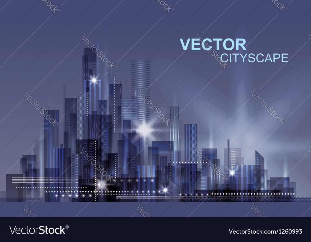 Modern night cityscape background vector