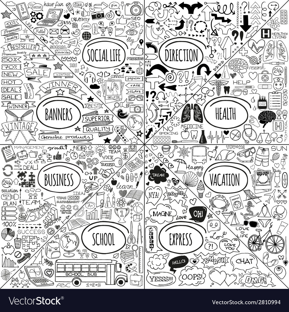 Mega doodle icons set vector