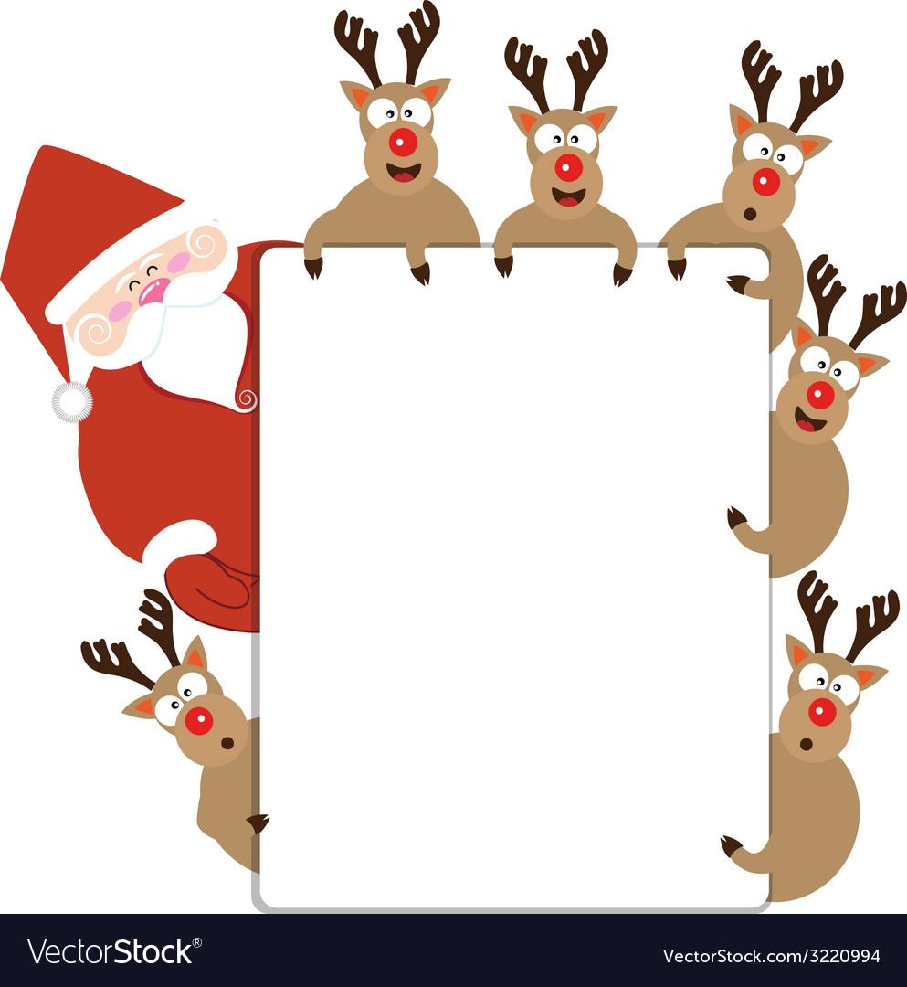 Santa claus and reindeer present christmas card vector