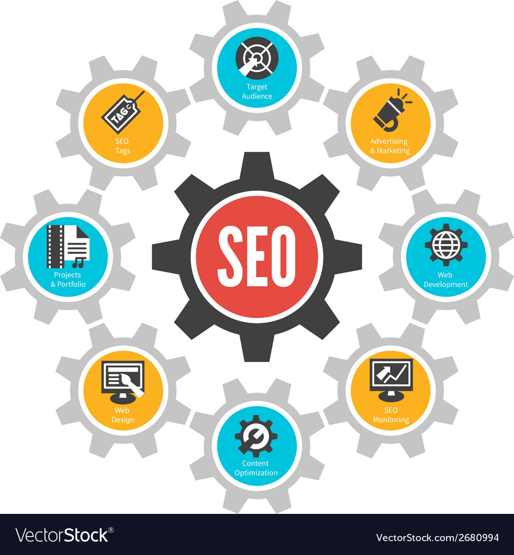Seo internet technology concept infographic design vector