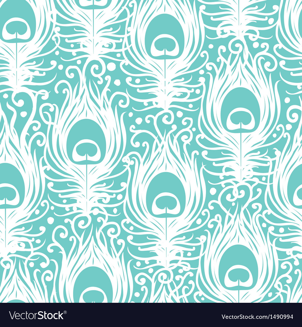 Soft peacock feathers seamless pattern background vector