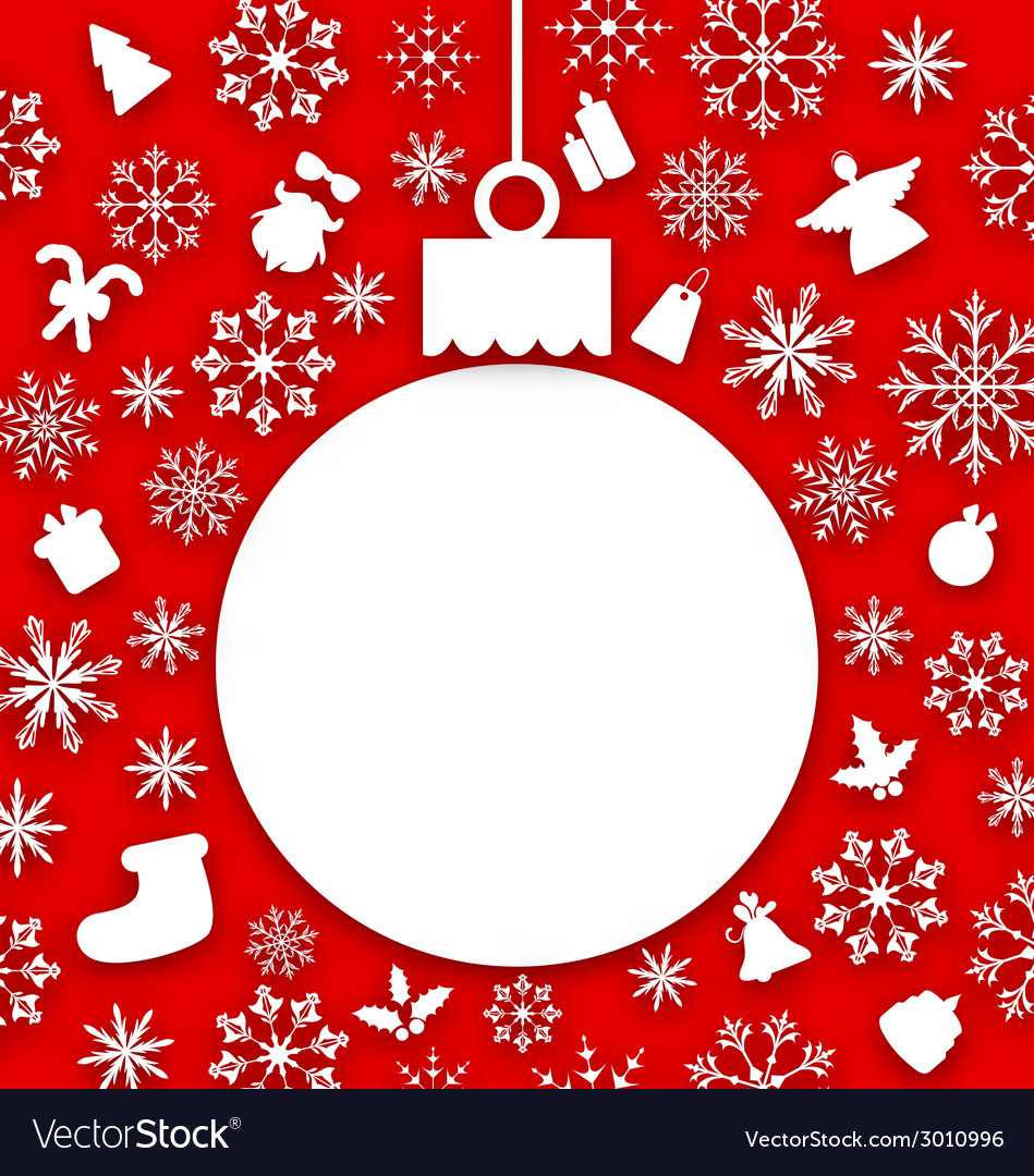 Christmas paper hanging ball as a postcard vector