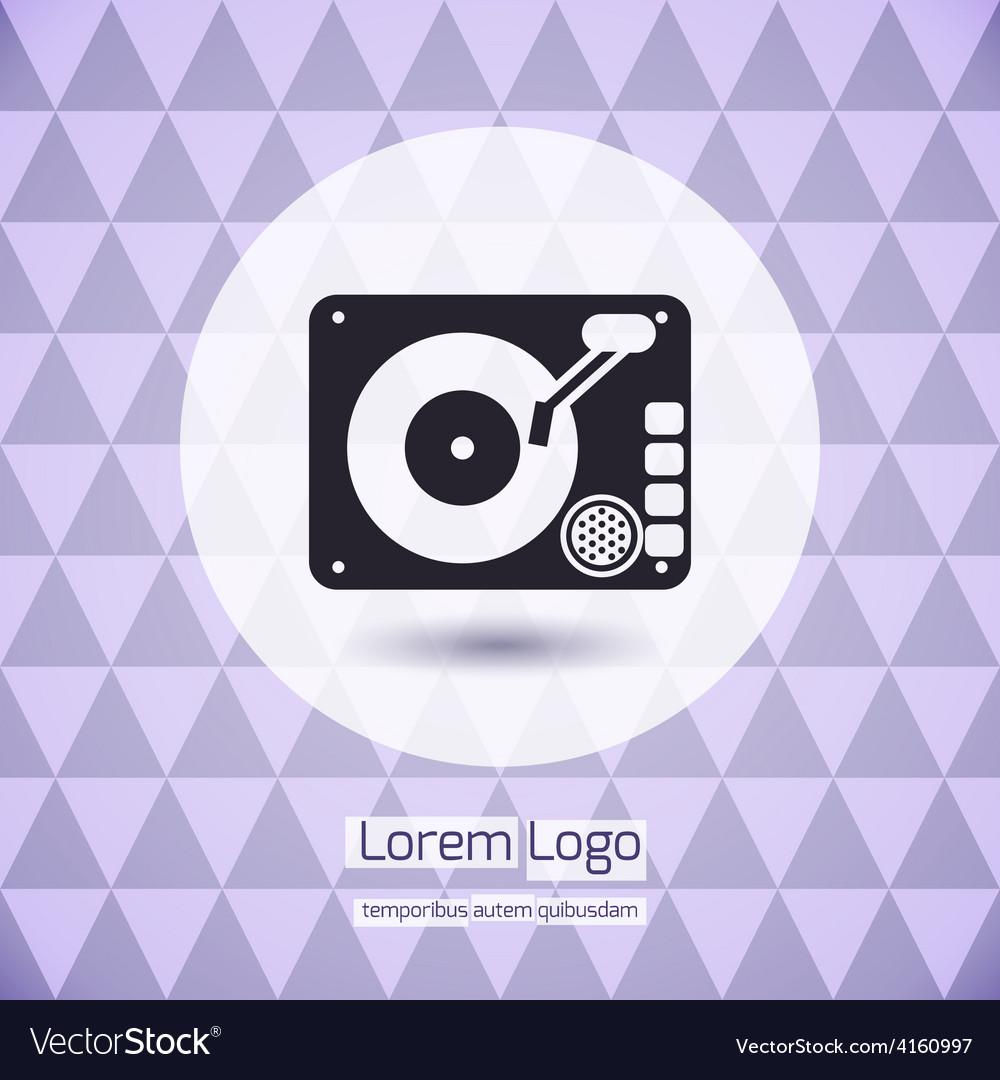 Disk jockey vinyl turntable logo vector