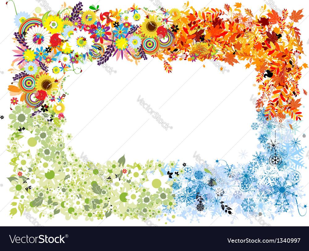 Four seasons frame - spring summer autumn winter vector