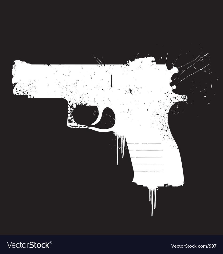 Grunge pistol vector