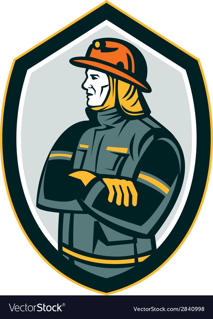 Fireman firefighter arms folded shield retro vector