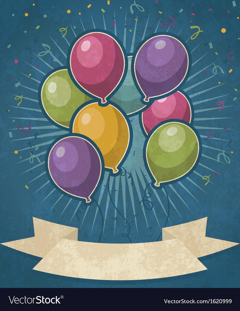 Retro party balloons vector