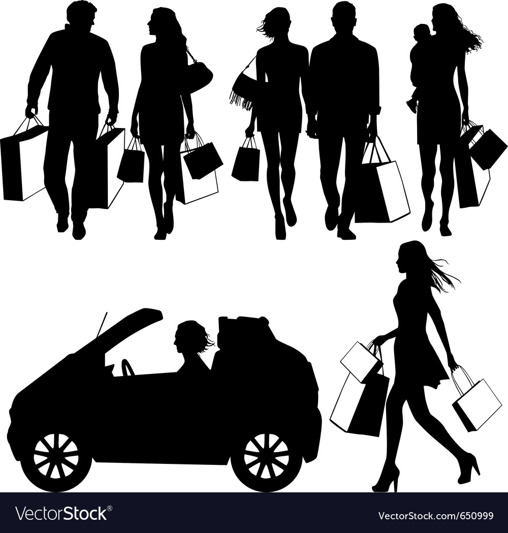 Several people shopping - silhouettes vector