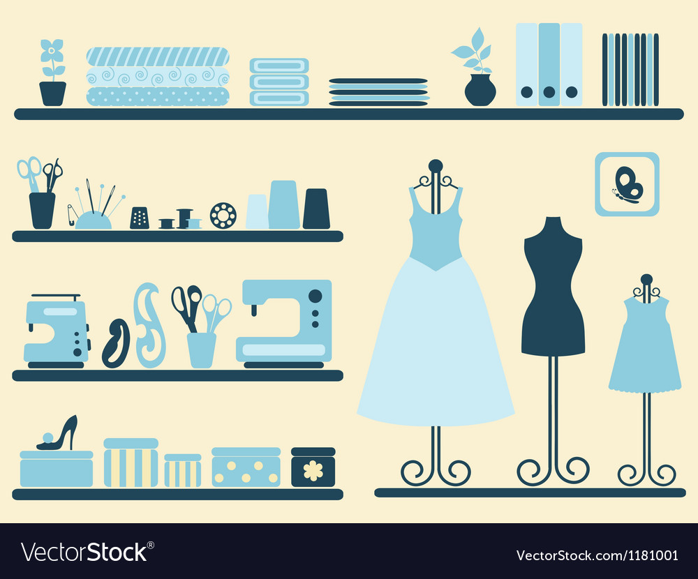 Sewing room interior and objects set vector