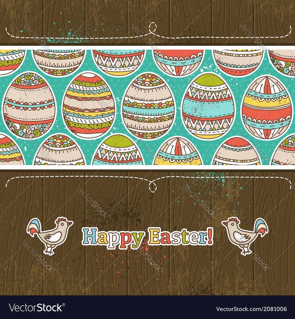 Easter eggs on grunge wooden background vector