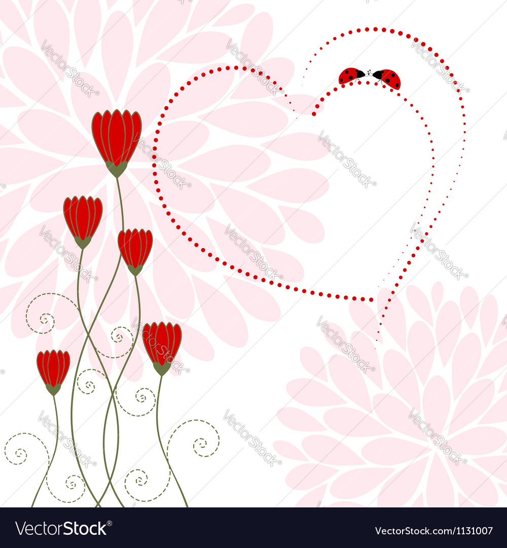Love card with flower and ladybug vector