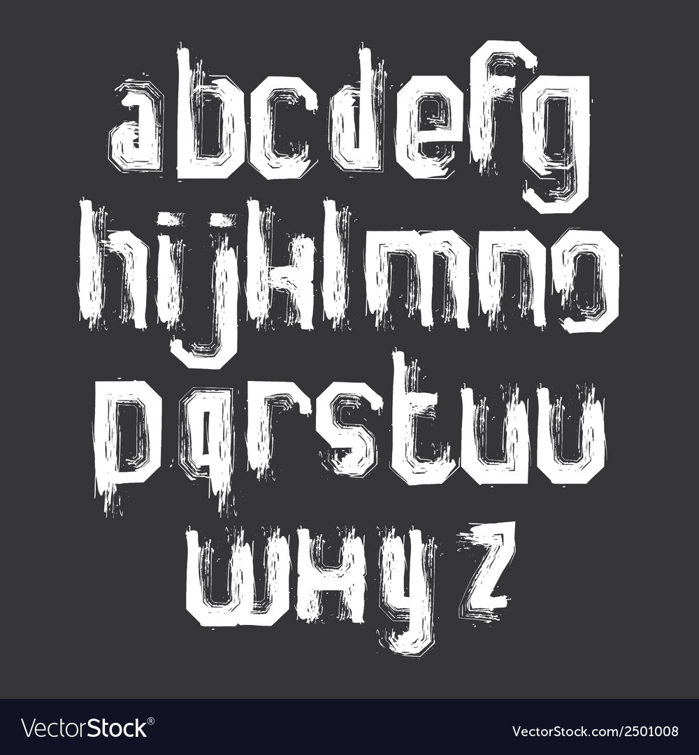 Lowercase white grunge brush letters hand-painted vector