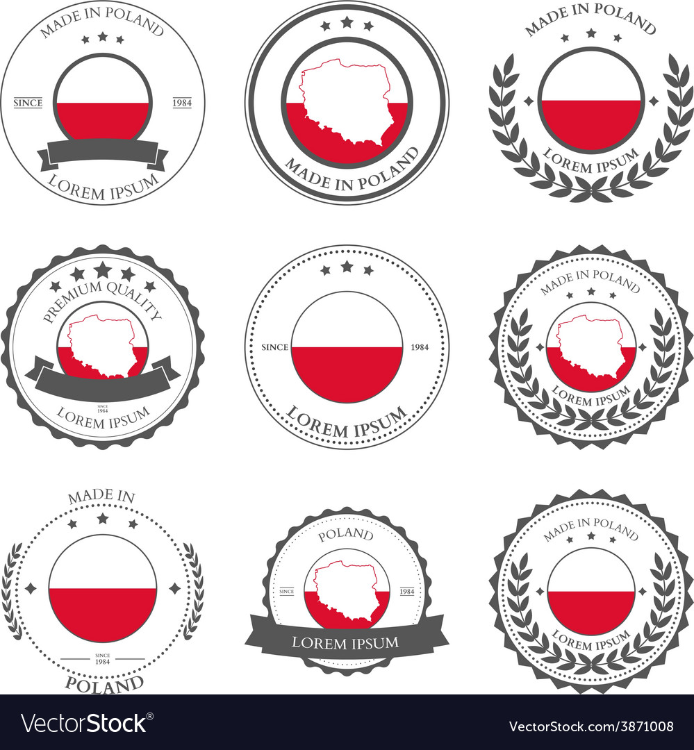 Made in poland seals badges vector