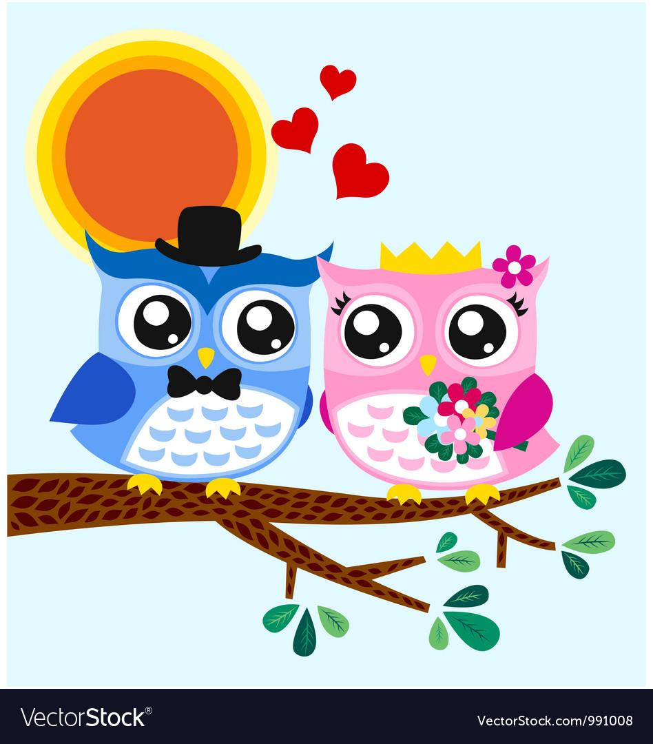 Owl bride and groom vector