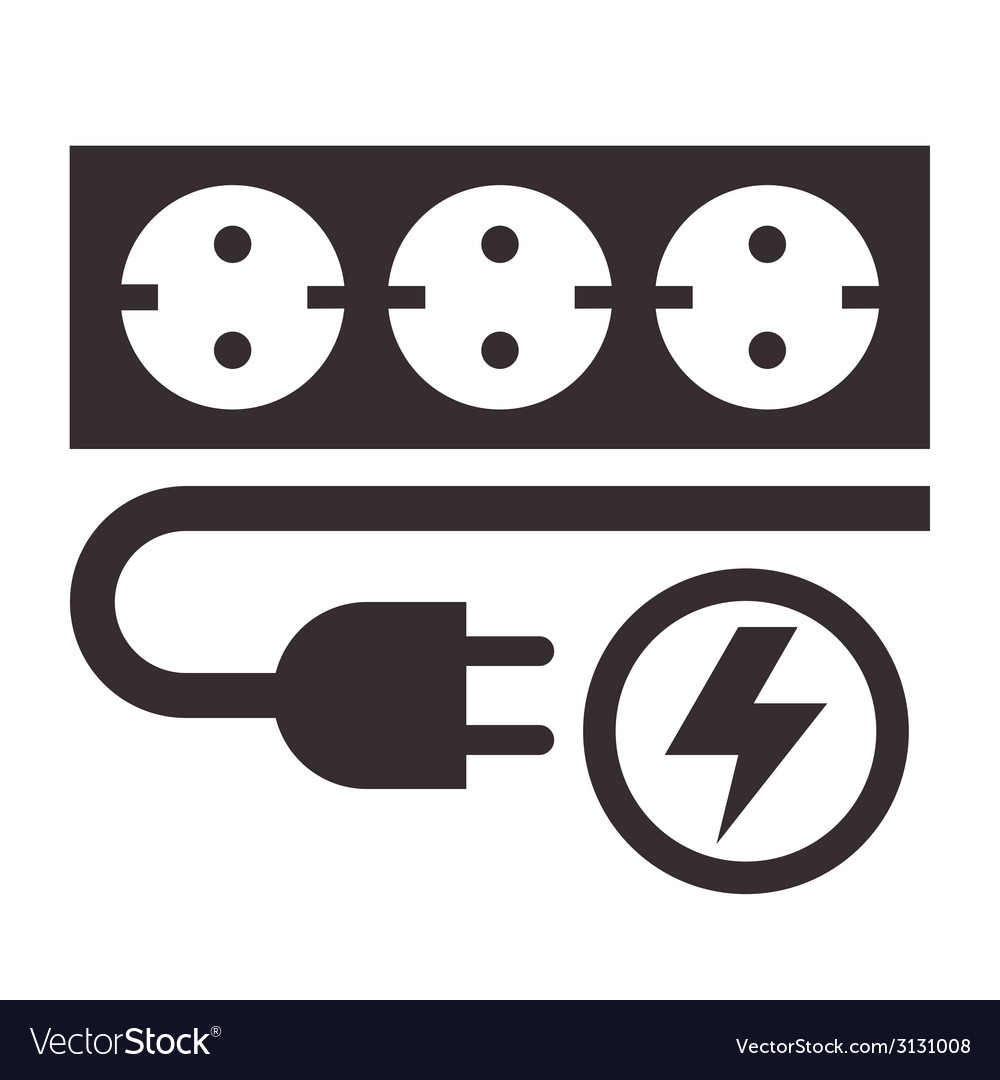 Power outlet plug and lightning sign vector