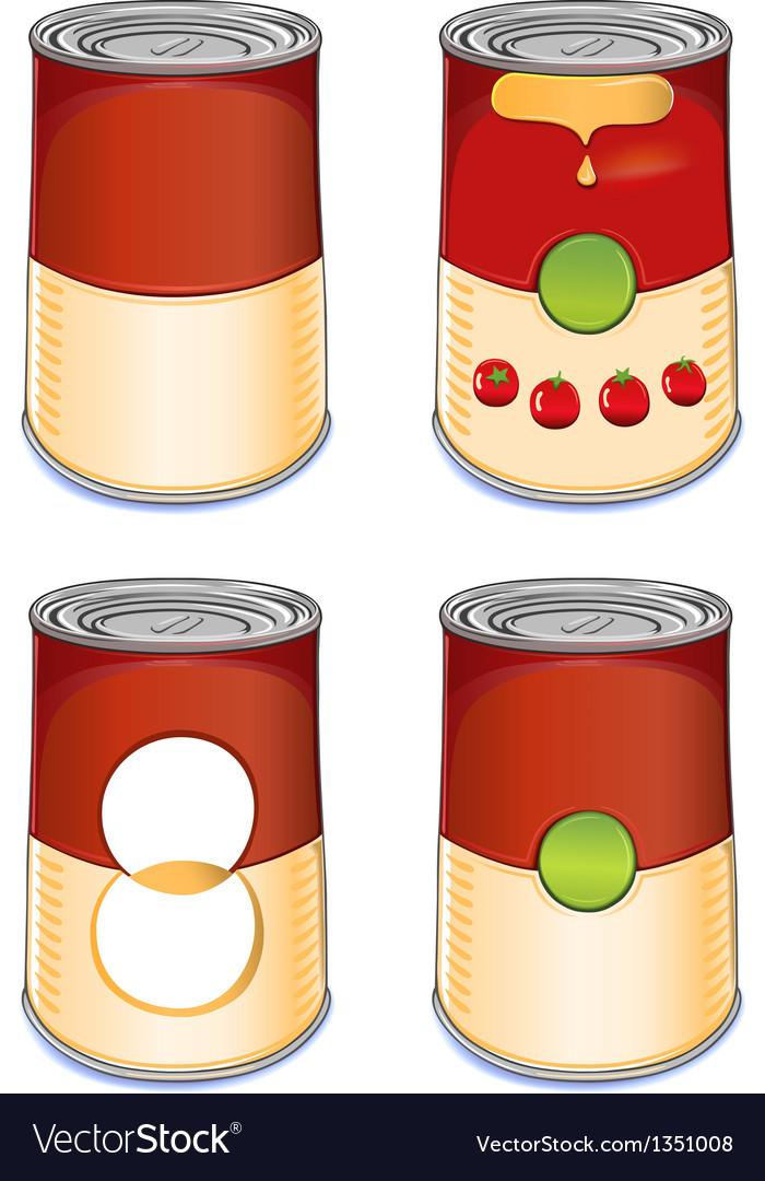 Template tin can tomato soup vector