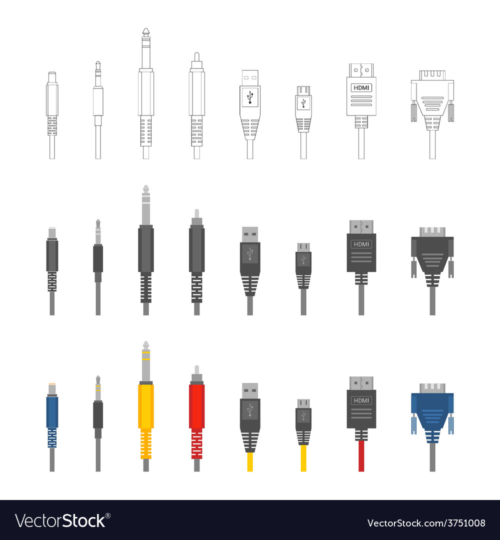 Various audio connectors and inputs set vector