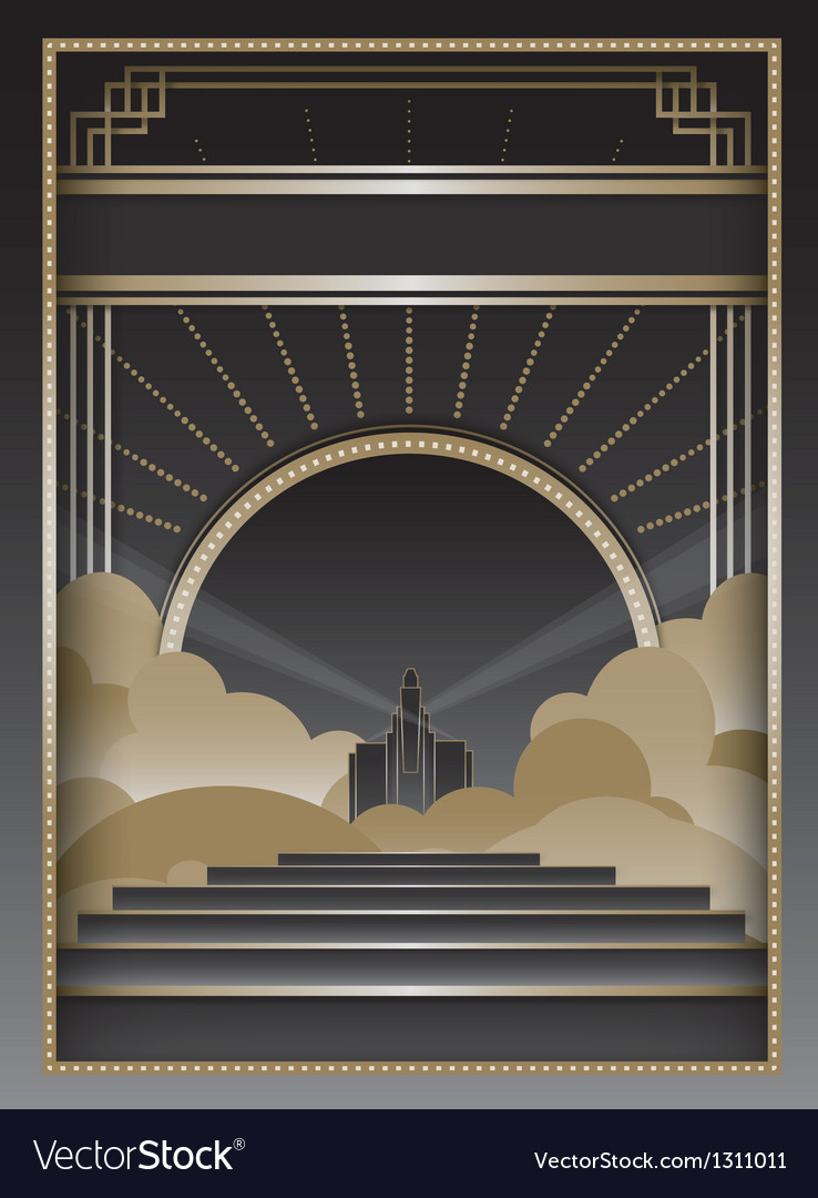 Art deco background and frame vector