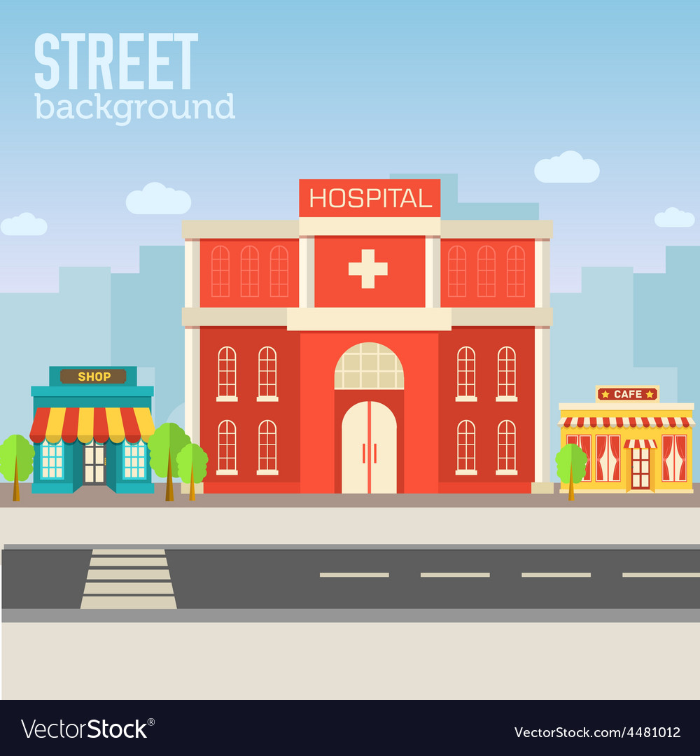 Hospital building in city space with road on flat vector