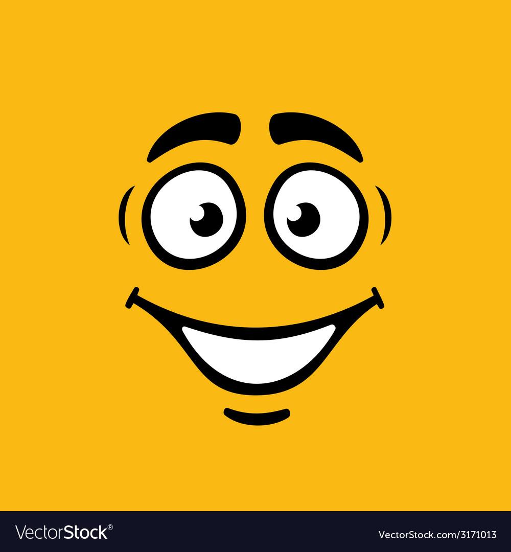 Cartoom smile on orange background vector