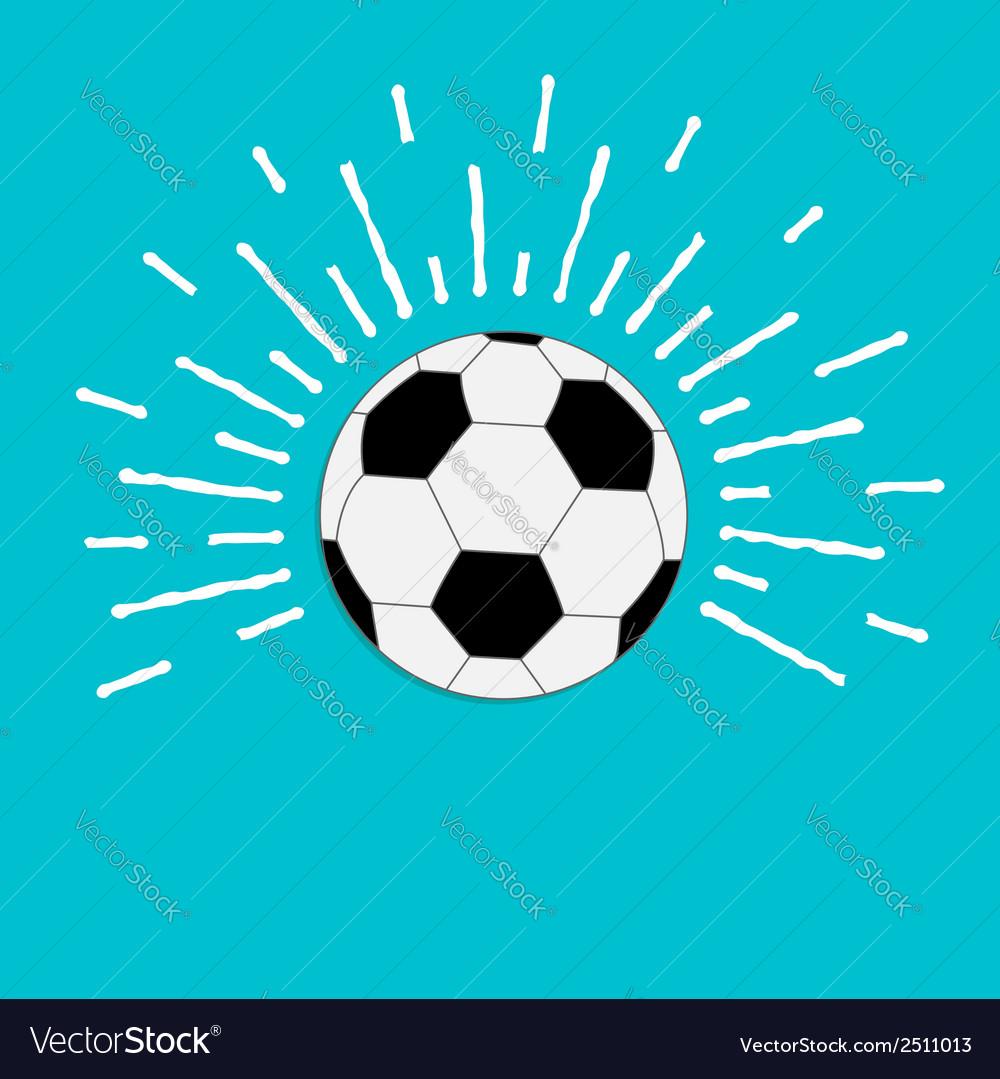 Football soccer ball with ray of light sunlight vector