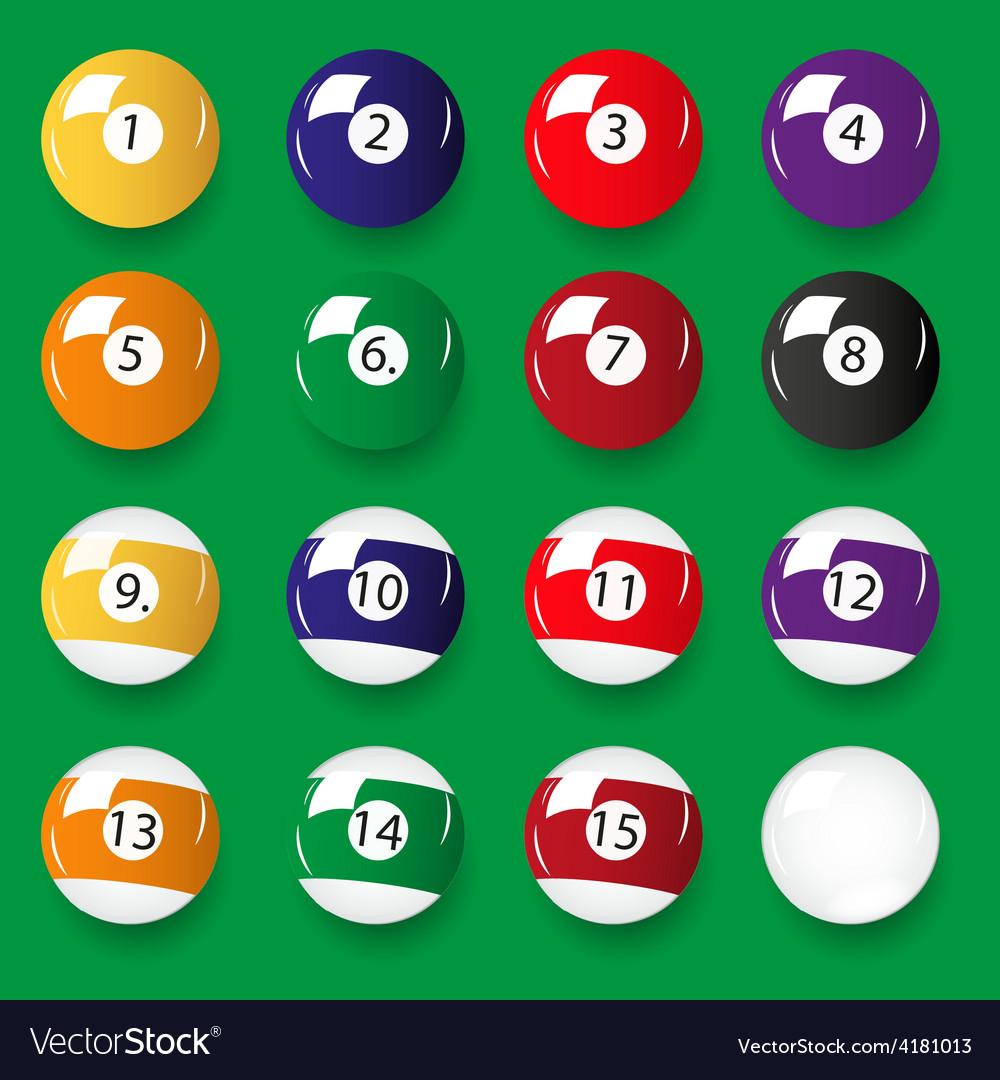Set of 16 color billiards balls eps10 vector