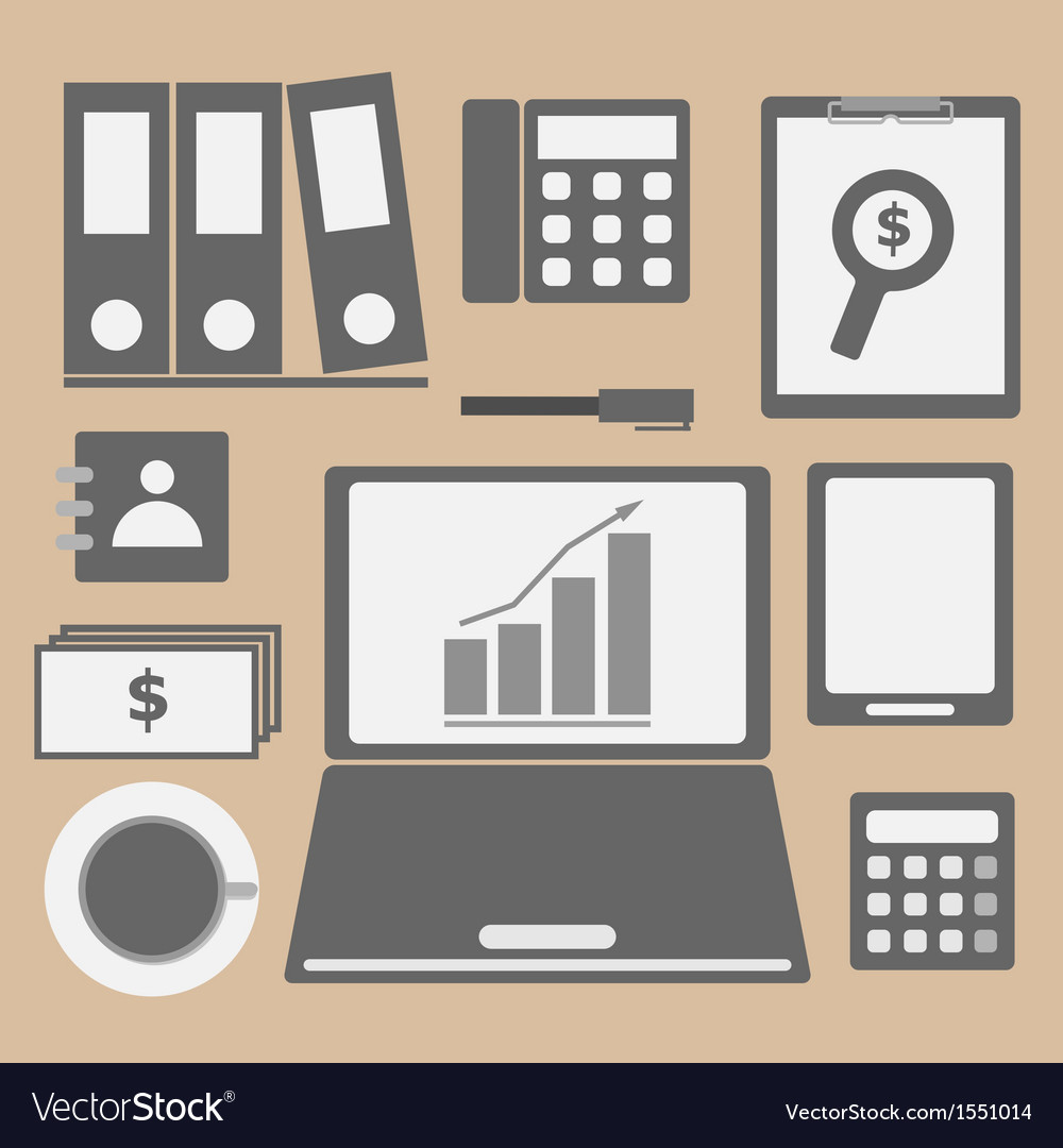 Internet investor at home office icon vector