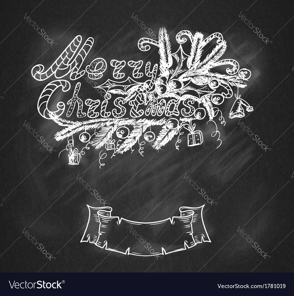 Hand-drawn christmas banner vector