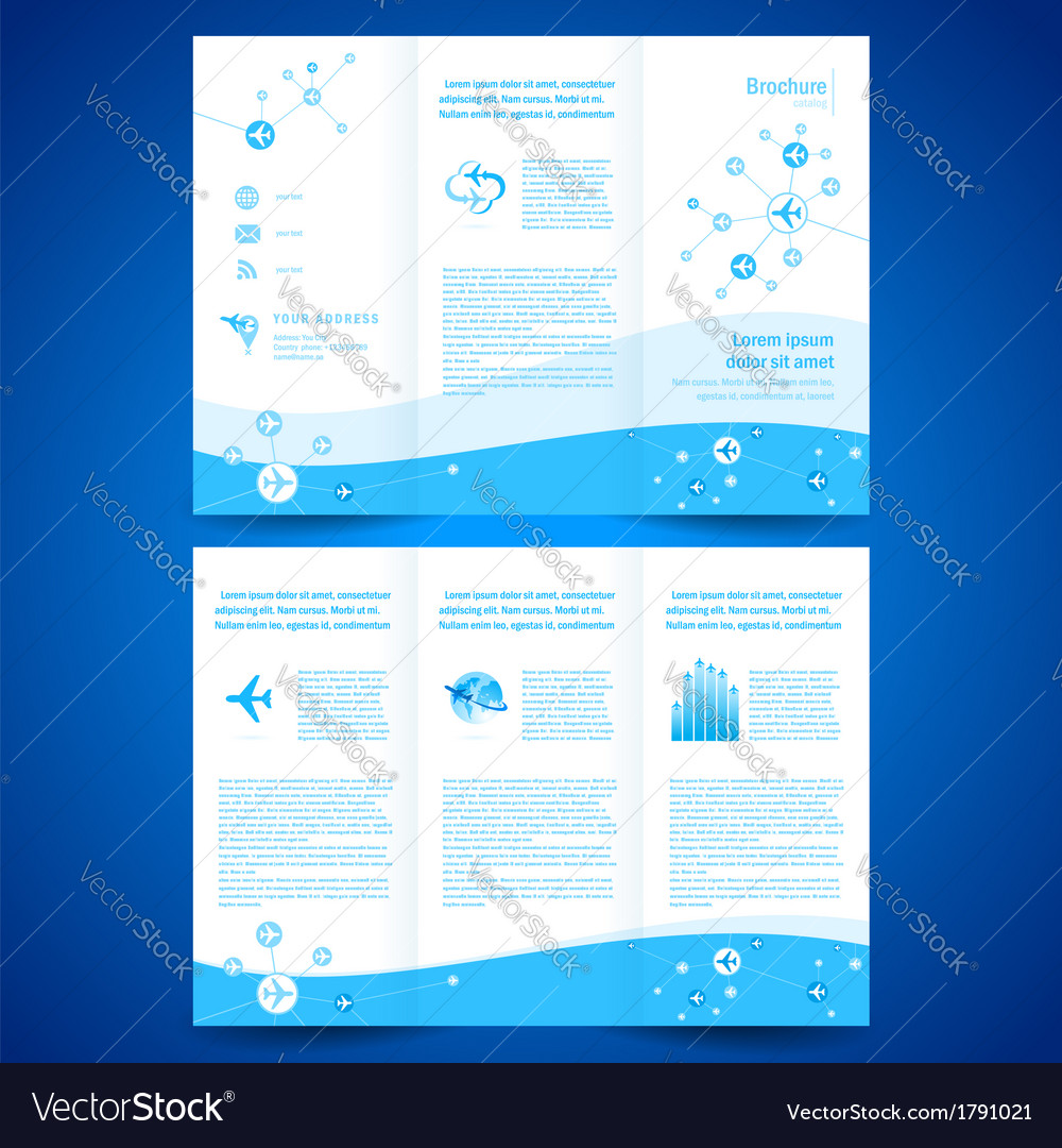 Brochure airplane airline flight transportation vector