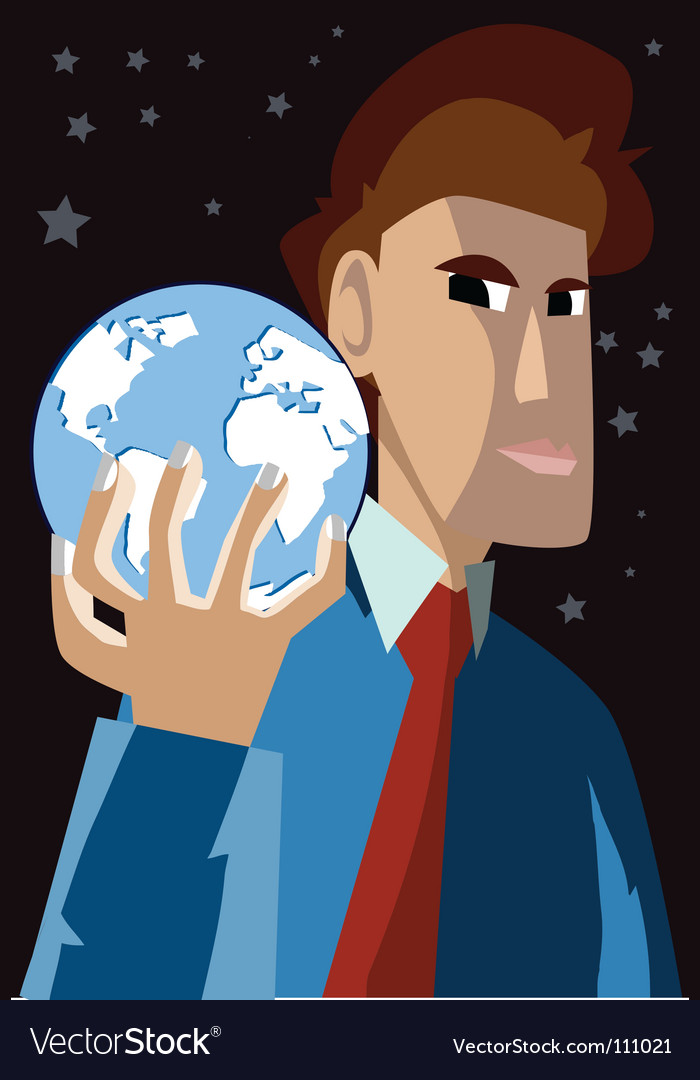 Man holding globe vector