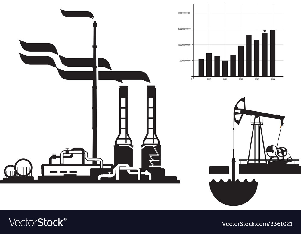 Oil and gas factory icons vector