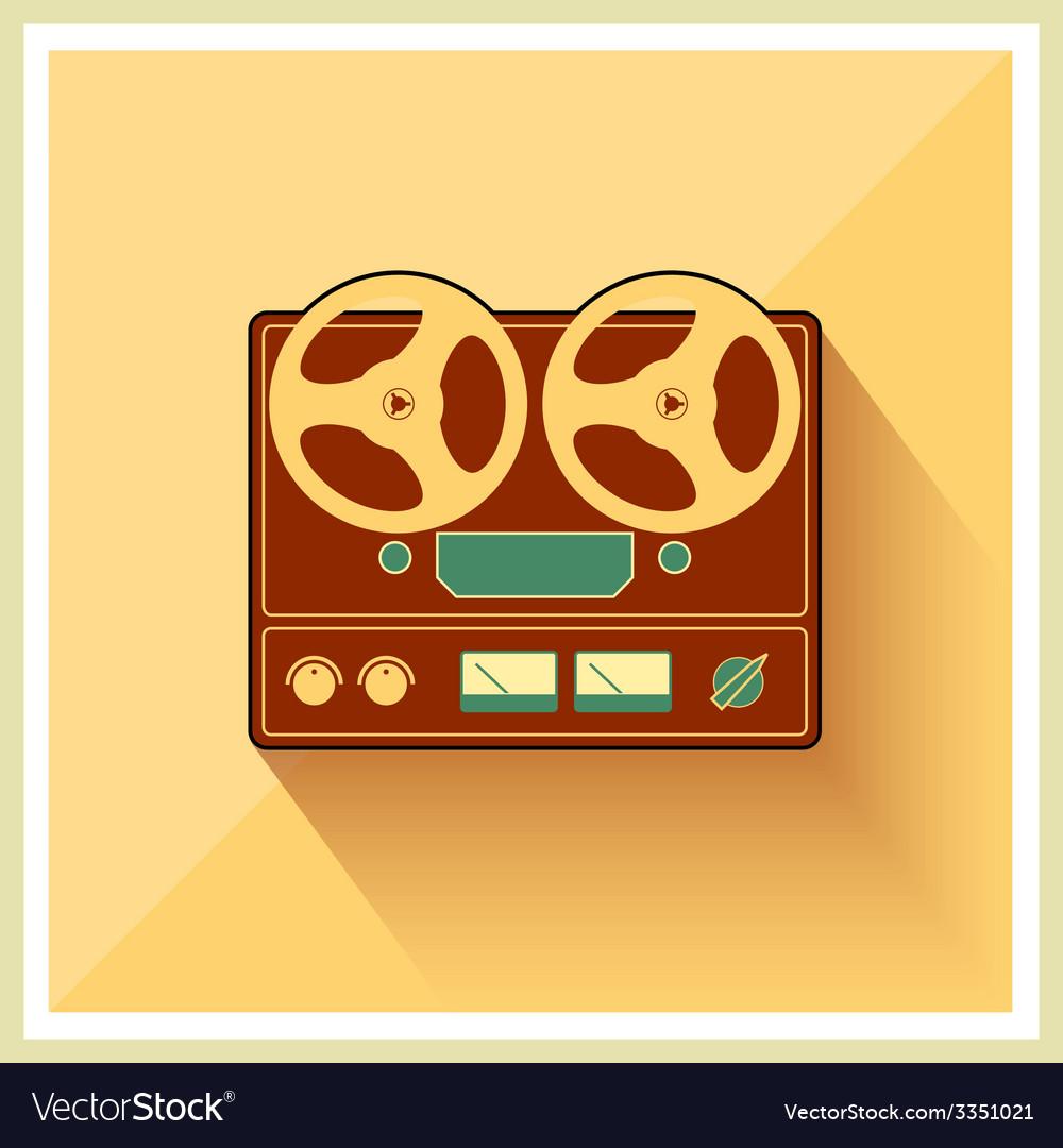 Open reel recorder on retro vintage background vector