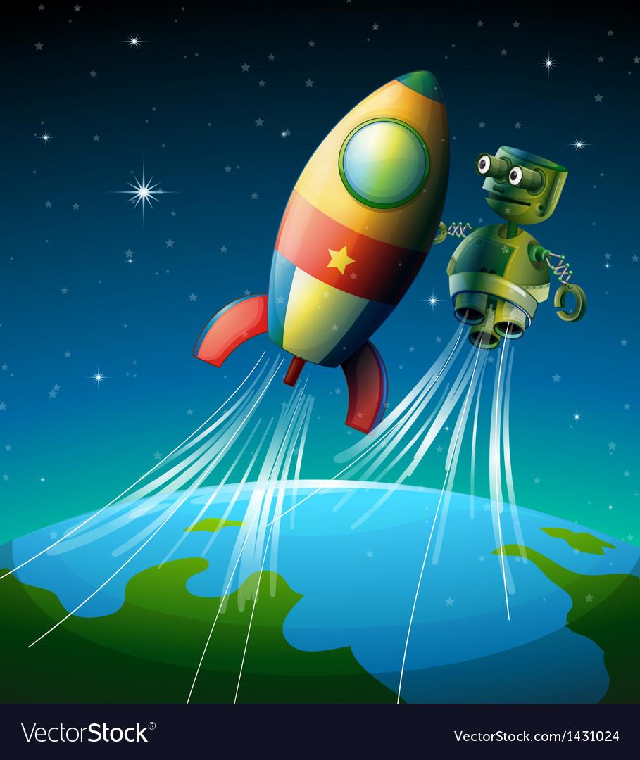 A robot beside a spaceship vector